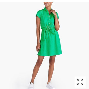 J Crew Factory Eyelet collared tie-front dress